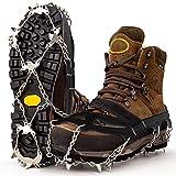 Ramponi Premium per scarponi da montagna con 19 punte in acciaio inossidabile - Ramponi professionali in acciaio antiscivolo per neve e ghiaccio - Ramponi per scarpe invernali