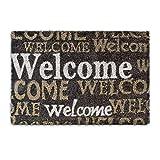 Relaxdays – Felpudo Welcome para la Entrada de su hogar Hecho de Fibras de Coco y PVC con Medidas 40 x 60 cm Antideslizante Elemento Decorativo, Color marrón Oscuro