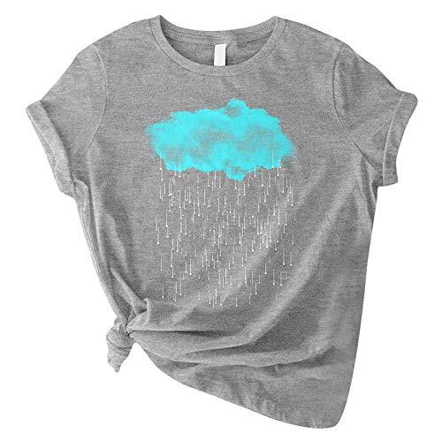 Camiseta para mujer con diseo de nubes y lluvia impresa, cuello redondo, manga corta, informal, ligera, para verano, tnica, blusa, Gris A., XXL