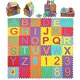 Kinder Puzzlematte, 15*15cm Kinderspielteppich mit Buchstaben von A bis Z & Zahlen von 0 bis 9 36 Stck Puzzlematte Buchstaben Kälteschutz abwaschbar (36 Stck-1)