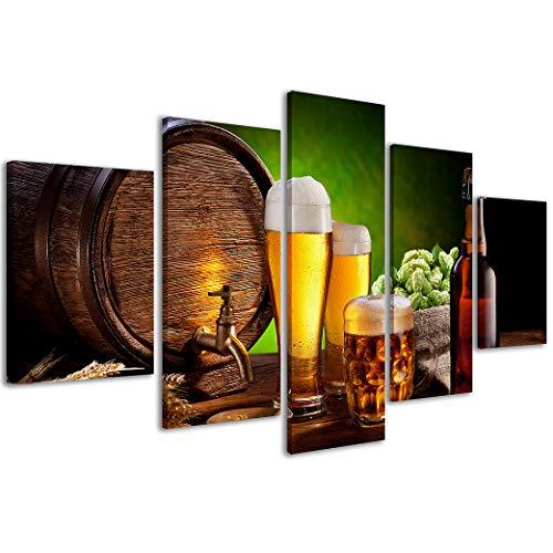 Stampe su Tela Food&Drink Beer 220 Quadri Moderni Birra in 5 Pannelli già intelaiati, Pronto per Essere Appeso, 200x90cm