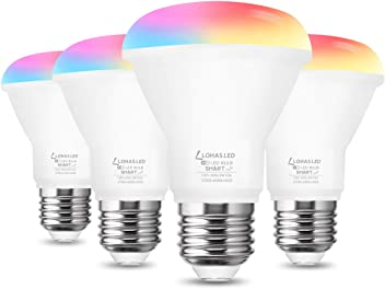 E12 Base Home Lighting 4 Pack LOHAS Smart Light Bulb 45W Equivalent Dimmable WiFi Bulb A19 RGB Color Changing Light Bulb 400LM Decorative Lights Compatible with Alexa Google Assistant SIRI 5W