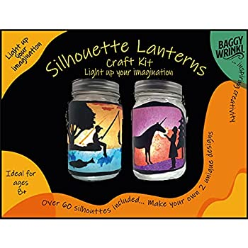 Lantern Craft KIT – Arts and Crafts Gift/Activity/Projects/Party for Girls/Boys/Kids/Teens DIY Make Your Own Silhouette Lantern Jar  60+ Silhouettes - Fairy/Unicorn/Dragon by Baggy Wrinkl
