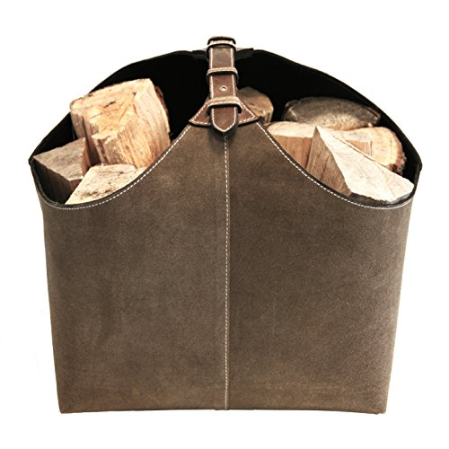 ØRSKOV - Holzkorb Lederkorb (LOG HOLDER) aus Wildleder bzw. Leder design by Jørgen Møller