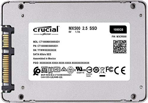 Crucial MX500 1TB 3D NAND SATA 2.5 Inch Internal SSD - CT1000MX500SSD1