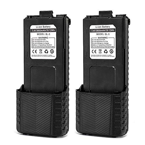 Baofeng BL-5 3800mAh Extended Battery Compatible with UV-5R UV-5RTP UV-5R Plus RD-5R, 2 Pack, Black
