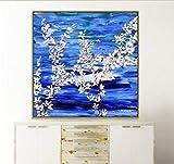 ganlanshu Pintura sin Marco Flores Blancas pétalos Hojas bodegones Pintura decoración de Pared sin Marco sobre Lienzo ZGQ4090 60X60cm