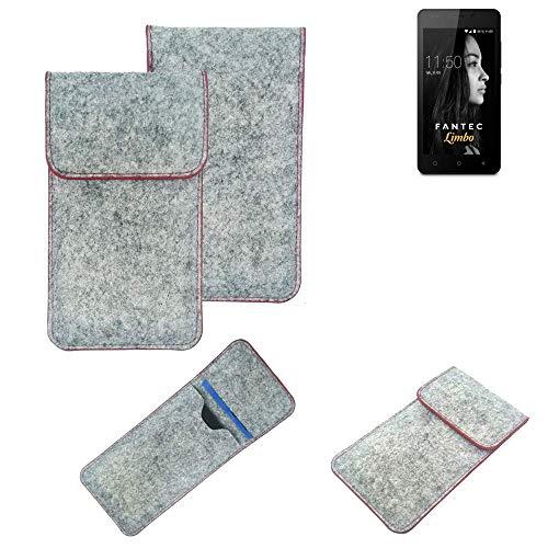K-S-Trade® Handy Schutz Hülle Für FANTEC Limbo Schutzhülle Handyhülle Filztasche Pouch Tasche Hülle Sleeve Filzhülle Hellgrau Roter Rand