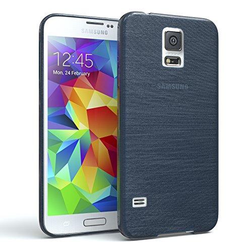 EAZY CASE Hülle kompatibel mit Samsung Galaxy S5/LTE+/Duos/Neo Schutzhülle Silikon, gebürstet, Slimcover in Edelstahl Optik, Handyhülle, TPU Hülle, Backcover, Silikonhülle Brushed, Dunkelblau