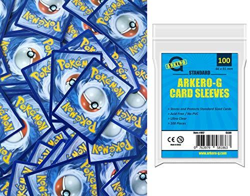 A Pokemon 100 Karten Sammlung SPARSET - DEUTSCH - (95 Kreis / Karo, 3 Stern, 2 Holos) + Arkero-G Standard Soft Sleeves (100 Kartenhüllen)