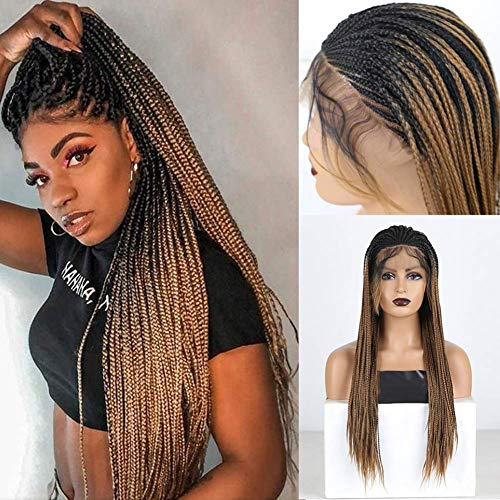 """RDY Ombre Brown Synthetic Lace Front Wig Long Heat Fiber Hair Lace Wigs for Women New Braided Box Braids Wig 24"""""""