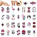Qpout 30 Hojas Tatuajes temporales para mujeres niñas, joyería de flores Diamante Flamenco Totem Tribu Impermeable Tatuaje Pegatinas Mano Cuello Brazo Cofre Tatuajes coloridos