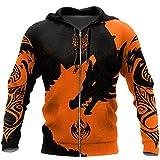 Micdime Orange Tattoo Dragon Wolf 3D Impreso Hombres Mujeres Sudaderas con Capucha Sudadera Unisex Streetwear Cremallera Pullover Chaqueta Informal Zip Hoodies XL