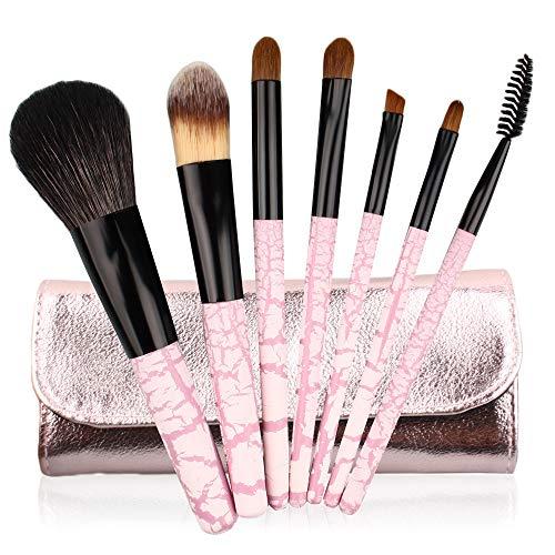 Set De Maquillage Brosse 7 Pièces Manche En Bois De Cheveux Animaux Maquillage Set Brosse Zèbre Motif Brosse De Maquillage S-035 Rose