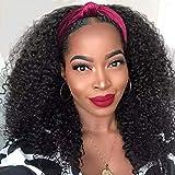 Nadula Hair Curly Hair Kinky Curly Half Wig Human Hair for Black Women 100% Malaysian Virgin Hair 150% Density Kinky Curly Headband 3/4 Half Wig Natural Color 18 Inch