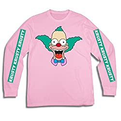 Image: The Simpsons Men's Krusty The Clown Shirt Krusty Long Sleeve Logo Tee Graphic T-Shirt