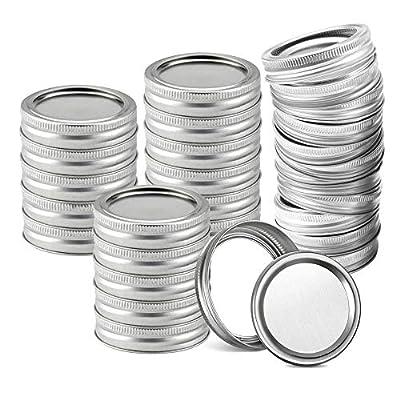 Mason Jar Lids Rings Regular Wide Mouth Canning Lids and Bands (70 mm Regular Mouth, 24 PCS Lids+ 24 PCS Bands)