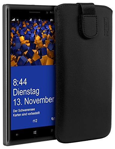 mumbi Echt Ledertasche kompatibel mit Nokia Lumia 830 Hülle Leder Tasche Hülle Wallet, schwarz