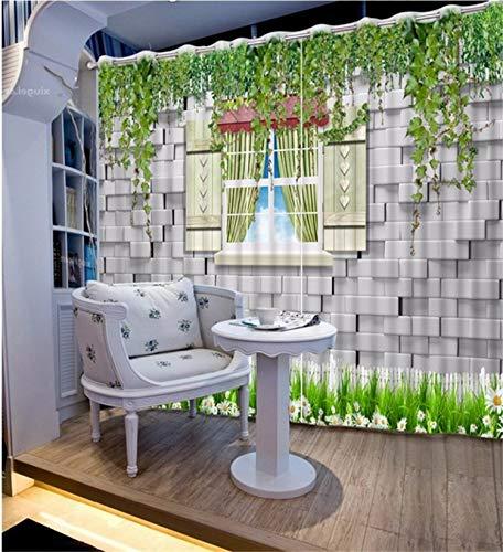HAOTTP 3D-Vorhänge Verdunkelungsbettauskleidungen Anpassen an das Fenster Wandblume Weinstock Wohnzimmer Schlafzimmer Dekor Fenster H200xB200cm