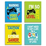 CHIEN-CHI LILI Funny Video Game Themed Wall Four Color Cute Art Print Inspirational Quotes Art Painting, Set of 4(8' x10' ) Novel Gaming Poster for Son Brother Kids Bedroom Boys Room Decor, No Frame