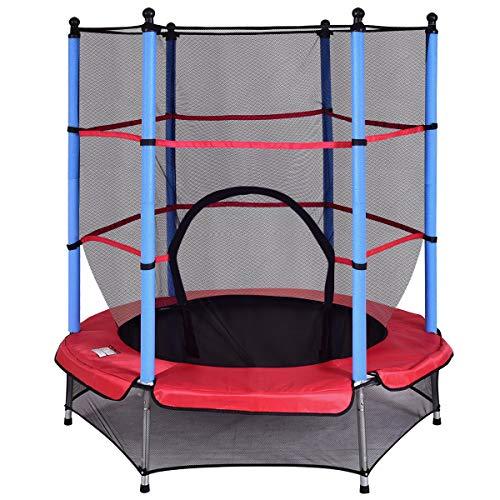 DREAMADE Trampolino da Giardino Tappeto Elastico per Bambini con Rete di Sicurezza, Diametro di 140 cm (medello 2)