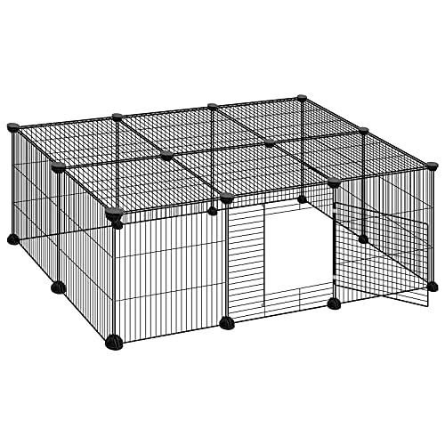 ELIGHTRY Enclos pour Chiens Clôture pour Petits Animaux Parc pour Lapins Cobayes Hamster DIY Métal Réglable avec Porte 16 Panneaux Noir 109 x 74 x 39 cm