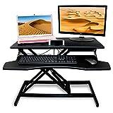 XIWODE Escritorio de pie para ordenador con altura ajustable, plataforma elevadora de doble monitor con bandeja para teclado, altura regulable