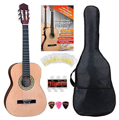 Classic Cantabile AS-861 Konzertgitarre 3/4 Starter-SET (akustische Klassikgitarre, geeignet für Kinder ab 8-11 Jahren, Tasche, Saiten, Noten, Plektren, Stimmpfeife) natur