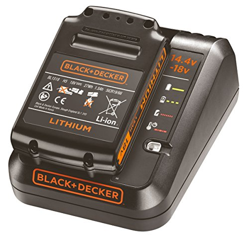 Black+Decker 1A Ladegerät Starterkit (18V 1,5Ah Li-Ion Akku, LED-Ladezustandsanzeige, 4 Anzeigenmodi, Ladezeit (1,5, 2,0, 4,0Ah): ca. 90 / 120 / 240min, für das 18V-System, 14,4V kompatibel) BDC1A15