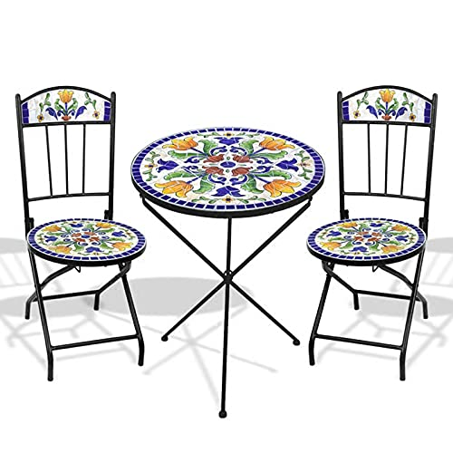 HZWZ Grand Patio 3Pc Folding Bistro Set, Mosaic Craft 2 Chairs And 1 Table, Weather-Resistant Conversation Set for Patio, Yard, Balcony, Garden, Blue