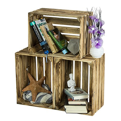 LAUBLUST 3er Set Große Vintage Holzkisten - 40x30x25cm, Geflammt, Neu, Unbenutzt | Möbel-Kiste | Wein-Kiste | Obst-Kiste | Apfel-Kiste | Deko-Kiste aus Holz - 2