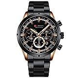 Relógio Masculino Curren 8355 BRG Pulseira em Aço Inoxidável - Preto e Dourado