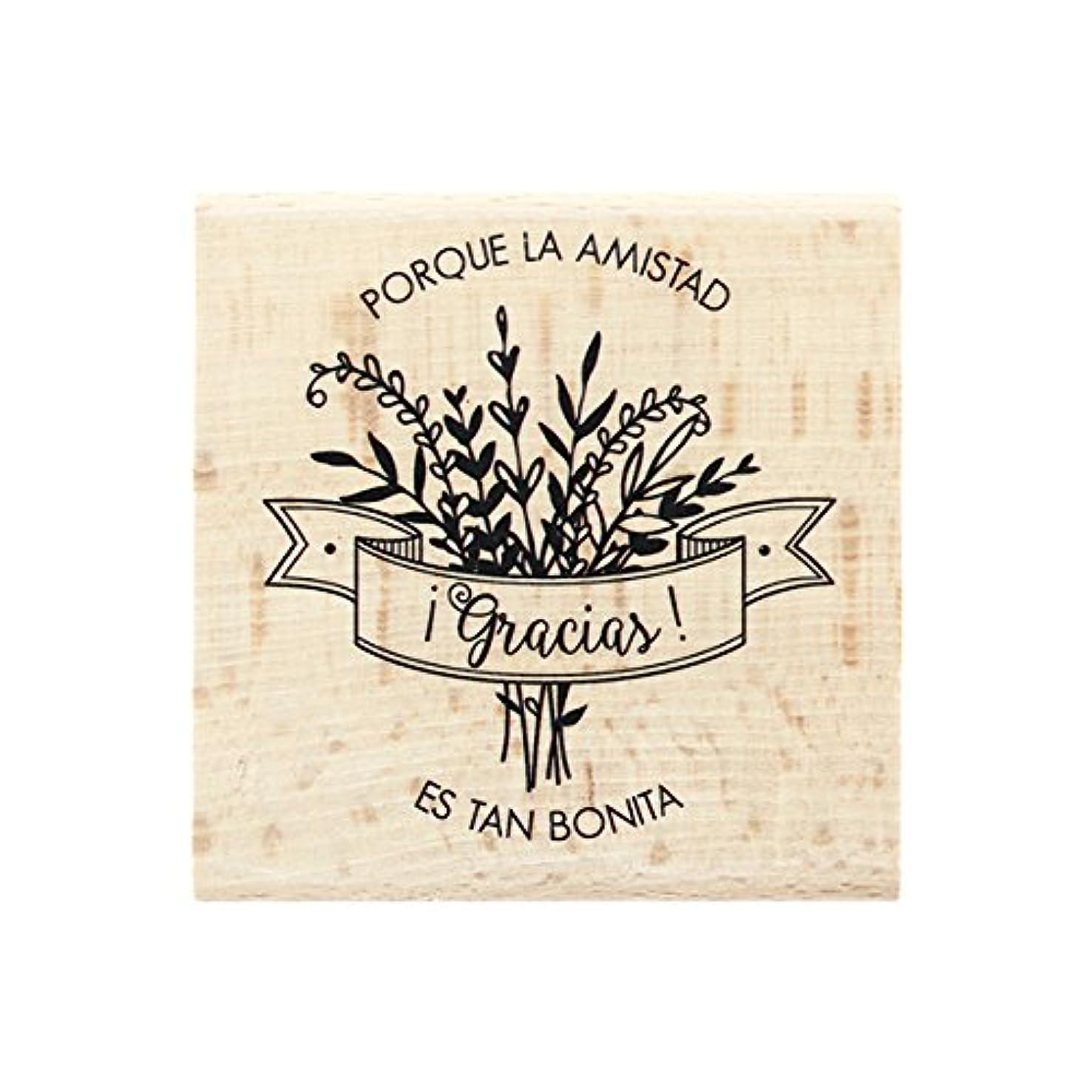 Florilèges Amistad Tan Bonita Design Stamp, Wood 7?x 7?x 2.5?cm