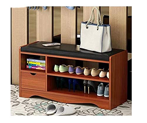 Best to Buy SHOE RACK - Elegant Premium Wooden Shoes Organizer, Storage, Cabinet, Holder Bench with 2 drawers and removeable Soft Seat Cushion for Entryway, Hallway (Brown)