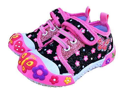 Chulis Toddler Girl Shoes Sneakers Shoes for Girls Sizes 4 to 8 (7, Black)