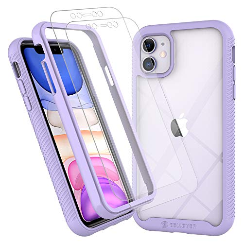 CellEver iPhone 11 Case, Clear Full Body Heavy Duty Protective Case Anti-Slip Full Body Transparent Cover Fits Apple iPhone 11 (2X Glass Screen Protector Included) (6.1 inch, 2019) - Light Purple