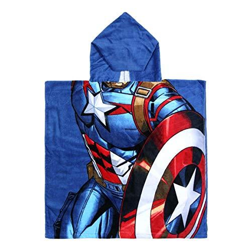 ARTESANÍA CERDÁ Toalla Poncho Niño Marvel Avengers Spiderman, Iron Man, Capitán América, Hulk | 100% Algodón 300gsm | 60 x 120 cm (Capitán America)