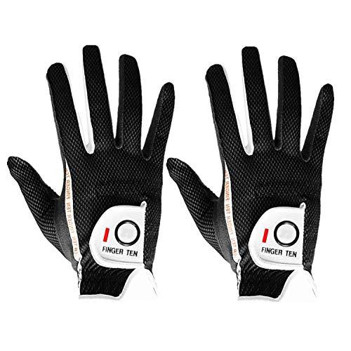 FINGER TEN Men's Golf Glove Rain Grip Pair Both Hand or 2 Pack Left...