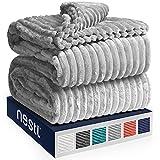 Nestl Cut Plush Blanket - King Size - Lightweight Super Soft Fuzzy Luxury Bed Blanket for Bed - Machine Washable - (90x108) (Light Grey)
