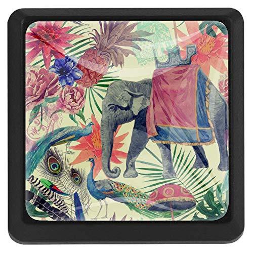 TIZORAX Schubladenknauf, indischer Elefant und Pfau, Ananasblätter, für Küchenschränke, Schränke, Kommoden, Türen, Heimdekoration
