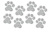Set of 8 Paw Print Clear Rhinestone Iron On 2' Each Dog Cat Animal Paws Hotfix Transfer Bling DIY