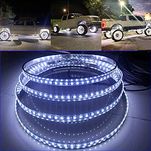 """15.5"""" IP68 Brightest WHITE LED Wheel Lights Switch Ctrl Pure White Wheel Rim Lights Solid Color Rim Light Up for Truck VEHICAL OFFROAD"""