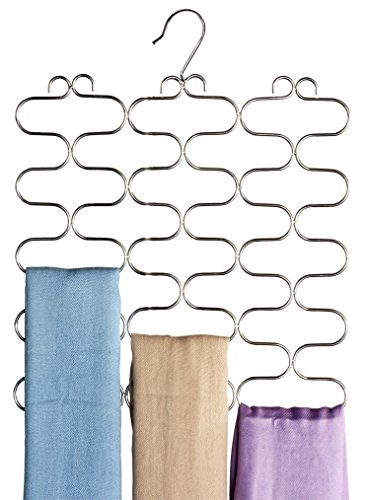 DecoBros Supreme 23 Loop Scarf/Belt/Tie Organizer Hanger Holder, Chrome