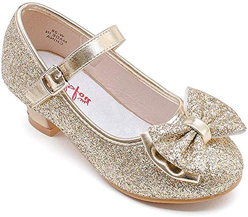 Walofou Mary Jane Shoes for Girls Size 10 Wedding Princess Gold Dress Shoes 4 Yr Bridesmaid Kids Party Flower Low High Heel Glitter Shoes for Little Girls Cosplay Sequins ( Gold 10