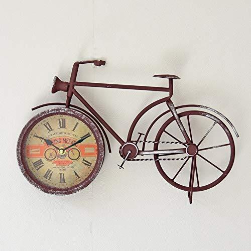 LTOOD modellen Amerikaanse retro fiets klok muur klok Thuis office pointer wandklok 35 * 35Red14 inch