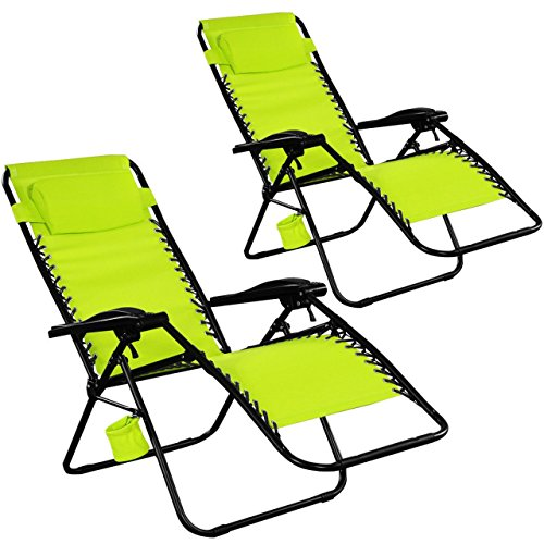 Set Of 2 {Two) Zero Gravity Chairs Lounge Patio Folding Recliner Outdoor Green W/Cup Holder #271