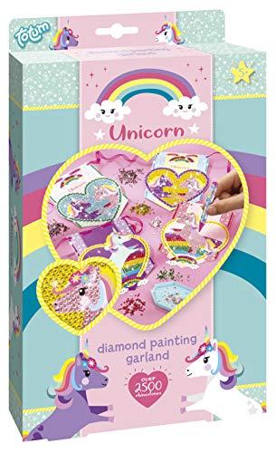 Totum 71056 Unicorn Diamond Painting Girlande – Gestalte Schablonen und bastle eine süße Einhorn-Girlande im Glitzerlook