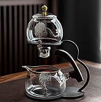 ティーポット耐熱ガラスティーセット半自動ティーセットレイジーティーセット磁気ティーポット家庭用ガラスシンプル