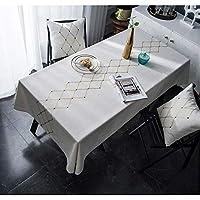 HULDORO テーブルクロス、ティーテーブルマット、アメリカの偽装コットン、リネン、テーブルフラグ、金箔、テーブルクロスを刺繍 ウェアラブル (Color : Rhombus, Size : 135*160)