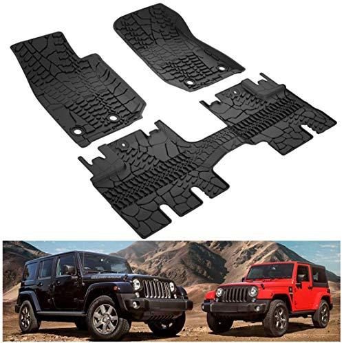 L&U Vorne und hinten schwarz Slush Bodenmatten für 2014-2018 Jeep Wrangler JK 4 Tür Unbegrenzte Allwetterschutz TPE Boden Teppichboden Liner Set